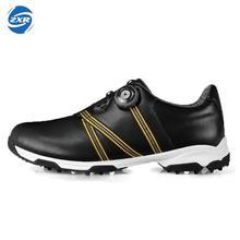 Мужчины автоматические Боа-кружева первый слой кожи водонепроницаемый дышащий противоскольжения лакированной дизайн спортивной обуви хорошее сцепление мужской Гольф обувь