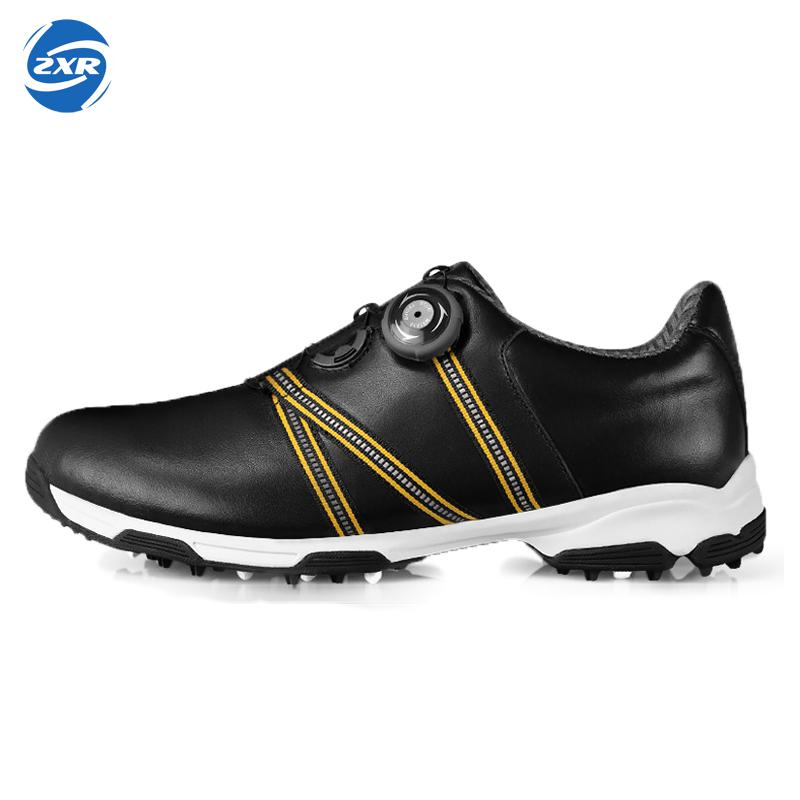 men automatic BOA-lace first layer leather waterproof breathable anti-skid patent design sport shoes good grip male golf shoes microfiber leather breathable waterproof patent men sport shoes activities nail anti skid good grip resistant golf shoes