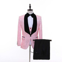 Hot Korean version of the self cultivation suit suit best man pink pattern suit men's business casual business wear 2019 new