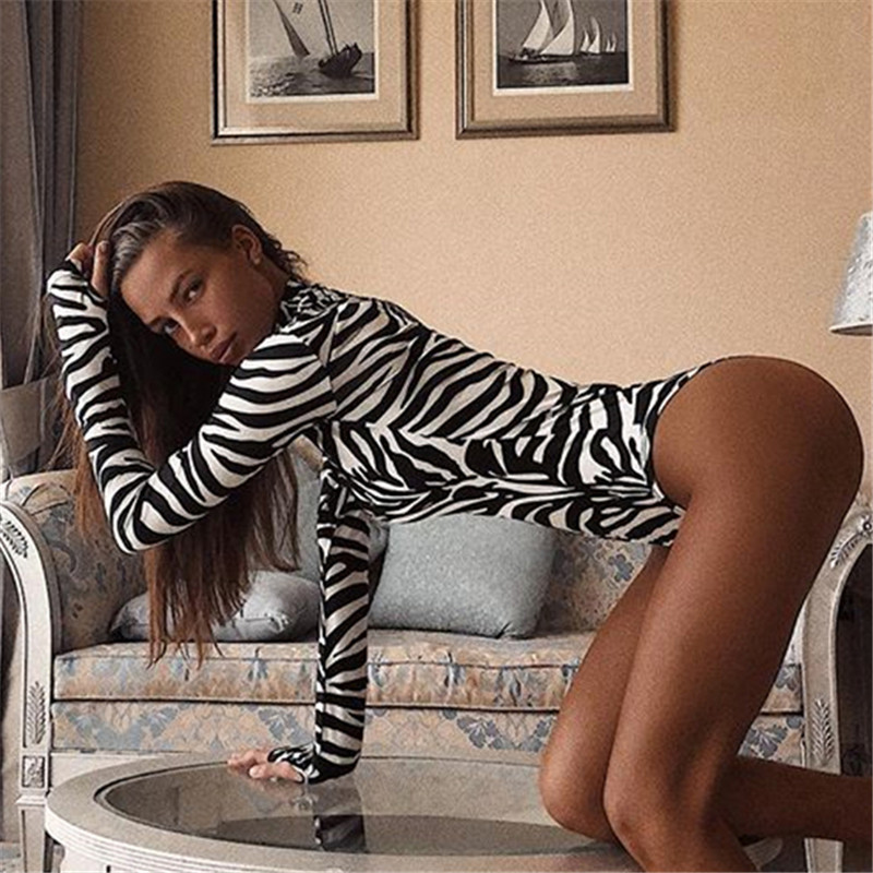 8d7dc79d7ac Detail Feedback Questions about 2018 Women Sexy Zebra Print Bodysuit Long  Sleeve Workout Turtleneck Playsuit Slim Fit Mujer Bodycon Bottoming  Clothing ...