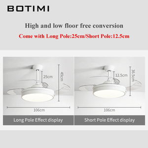 Image 4 - BOTIMI الحديثة للطي مروحة سقف s مع أضواء لغرفة المعيشة 42 بوصة مروحة سقف تعمل بالتحكم عن بعد مصباح غرفة نوم LED التهوية