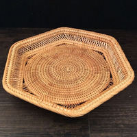 Rattan Fruit Basket Vintage Dry Fruit Tray Display Designs Household Food Bowl Plate Retro Daily Snack