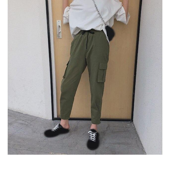 2019 Loose Women Harem   Pants   Elastic Waist Pocket Cargo   Pants   Work Streetwear Casual   Pants