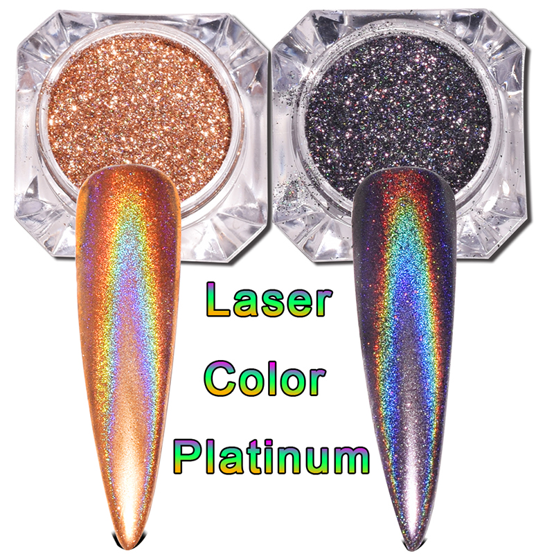 0 2g box Holographic Rainbow Nail Glitter Flakes Laser Super Shine Pigment Powder Dust Manicure Platinum Nail Art Decoration in Nail Glitter from Beauty Health