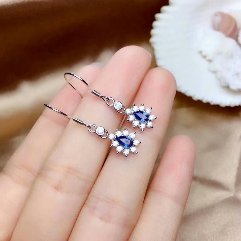 shilovem 925 silver sterling real Natural sapphire stud earrings fine Jewelry party trendy new party plant 3 5mm me0305661agl in Earrings from Jewelry Accessories
