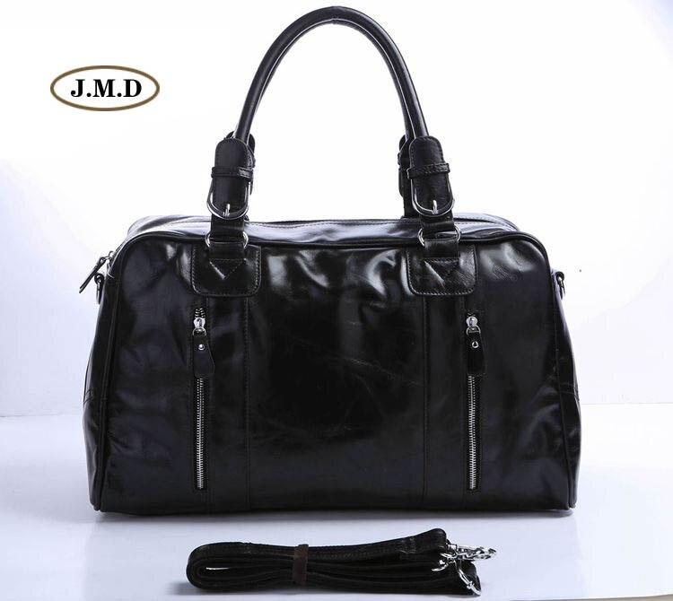 Genuine Cow Leather Classic Black Color Men's Fashion Large Capacity Business Protable Travel Bag Shoulder Bag 7190A