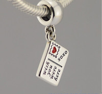 Fit Pandora Charms Bracelets Eiffel Tower Card Charm With Red Blue Enamel Wish You Were Here