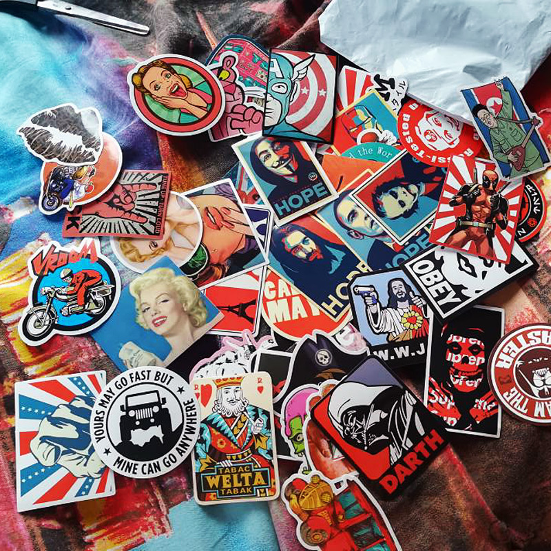 50Pcs Vintage Retro Stickers For Suitcase Skateboard Laptop Cell Phone Motorcycle Bicycle Car Accessories Mixed Sticker Bomb