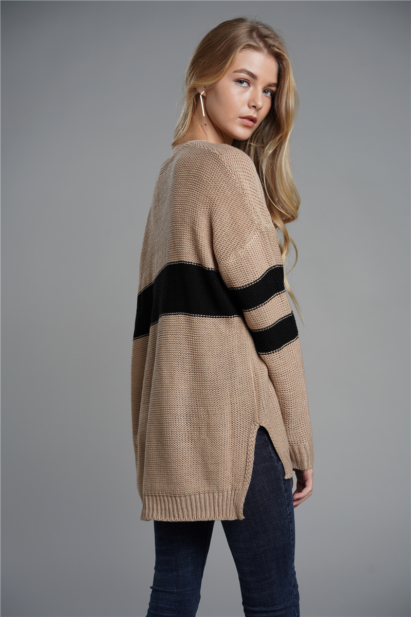 Sweater For Female 2019 New Autumn Winter Casual Loose Striped knitting Sweaters Fashionable V neck Patchwork Pullover in Pullovers from Women 39 s Clothing