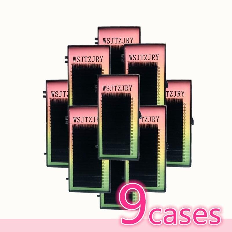 Wsjtzjry 9 casos, 8 ~ 15 мм, 20 филас/bandeja де расширение де pestanas де vison, de las pestanas, pestanas individuales