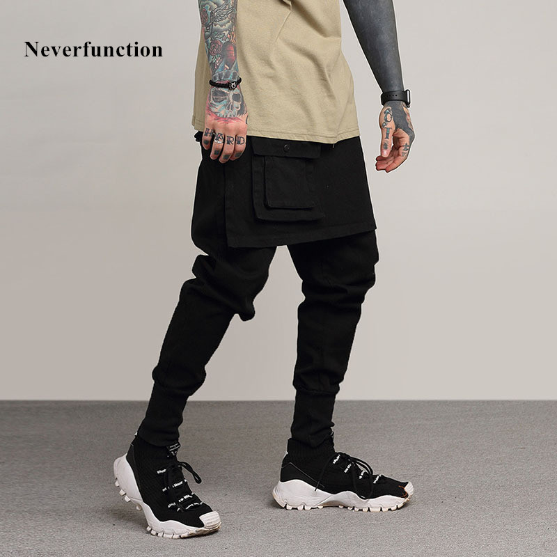 Neverfunction Fake two pieces Stitching Men Slim Casual Pants 2018 New Fashion Drawstring More pockets High quality Men trousers
