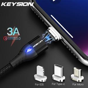 KEYSION-Cable USB magnético 3A para iPhone, Cable Micro USB tipo C, cargador magnético de carga rápida, Cable Micro usb para Samsung y Xiaomi
