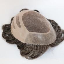 Eversilky Neue Ankunft 100% Echt Haar Ersatz Kurze Leichte Welle Grau Braun Hübscher Menschliches Haar Toupet Perücken