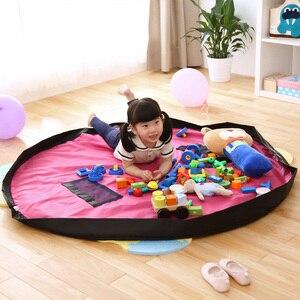 Image 4 - Taşınabilir çocuk oyuncak saklama çantası ve oyun matı oyuncaklar organizatör Bin kutu XL moda pratik saklama çantası s su geçirmez piknik örtüsü 64142