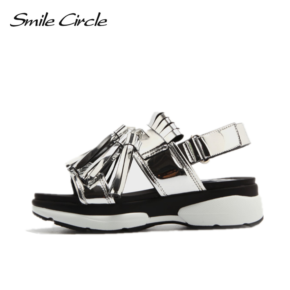 6bcef981099a17 Smile Circle 2018 Summer Style Sandals For Women Shoes Fashion Tassel Flat  Platform Shoes women Open Toes Sandals slipper A38174