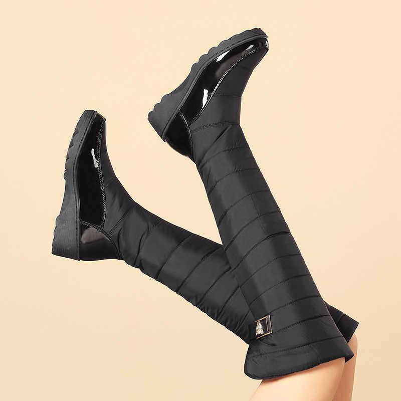 Morazora Nga Ủng Khóa Đầu Gối Giày Cao Dày Lông Thú Sang Trọng Nền Tảng Xuống Nêm Nữ Mùa Đông Giày Size 35- 44 Botas