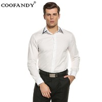 COOFANDY 2017 New Arrivals Stylish Male Wear Shirts For Mens Casual Turn Down Collar Long Sleeve