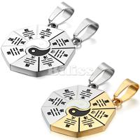 2 Pieces Fashion Couple Necklaces Yin Yang Bagua Pendant 316L Stainless Steel 2 Chains For Men