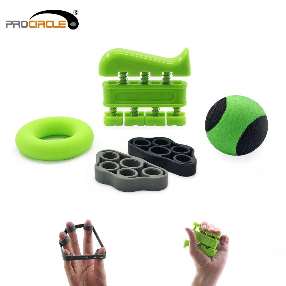 Conjunto de ejercitador de fuerza de agarre de mano (Pack de 5 Kit de terapia de manos restaurador de dedo del anillo de agarre con bolsa de transporte