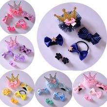 6pcs/set Cute Ribbon Bowknot Flower Hairpins Hair Barrettes Children Accessories Baby Girls Headwear Clip Rope Fashion