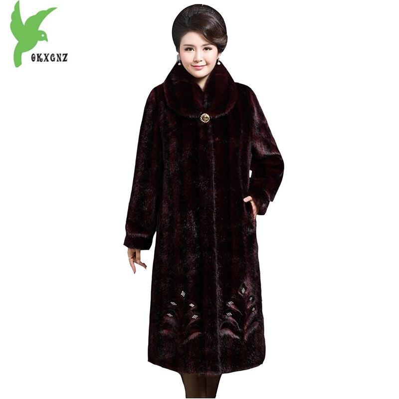 Nouvelle Hiver Femmes Imitation Fourrure Manteaux De Mode Style Long Vison fourrure de Survêtement Plus La Taille Épaisse Chaud Boutique Mère Tops OKXGNZ A796