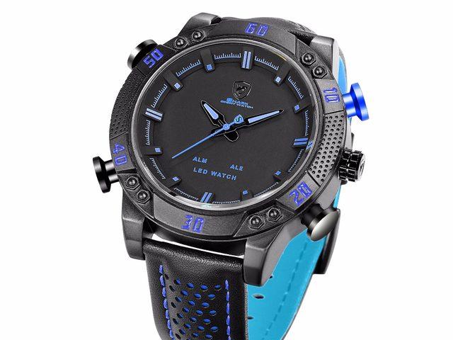 424aeb4ea38 Kitefin Tubarão Relógio Do Esporte Da Marca Caminhadas Ao Ar Livre Azul  Digital LED Eletrônico Relógios Homens Pulseira de Couro Relógio Calendário  Alarme  ...