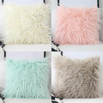 Lana Artificial piel de oveja peludo Faux liso Fluffy suave almohada  lavable almohada sin núcleo 45x45 cm 95634c7bc53