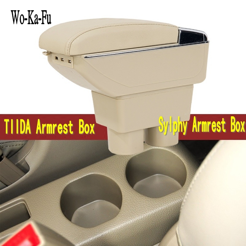 For Nissan Sylphy TIIDA Armrest box central Store content Storage box with cup holder ashtray decoration with USB interface car styling for toyota yaris l new vios fs armrest box central store content storage box with cup holder ashtray interface