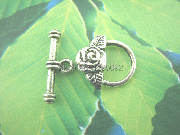 100Sets Toggle Clasps Fit Chain Bracelets / Necklaces Flowers Silver Tone Jewelry Making Charms Component Wholesale 17x19mm