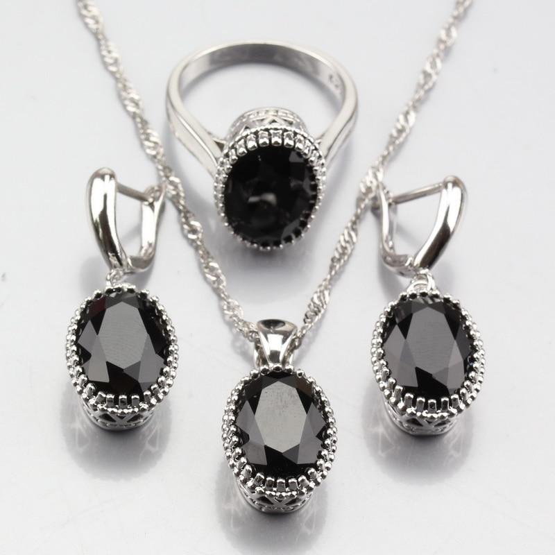 Jewelry-Sets Necklace Ring Pendant-Chain Zircon Stone Silver-Color Fashion Women Black