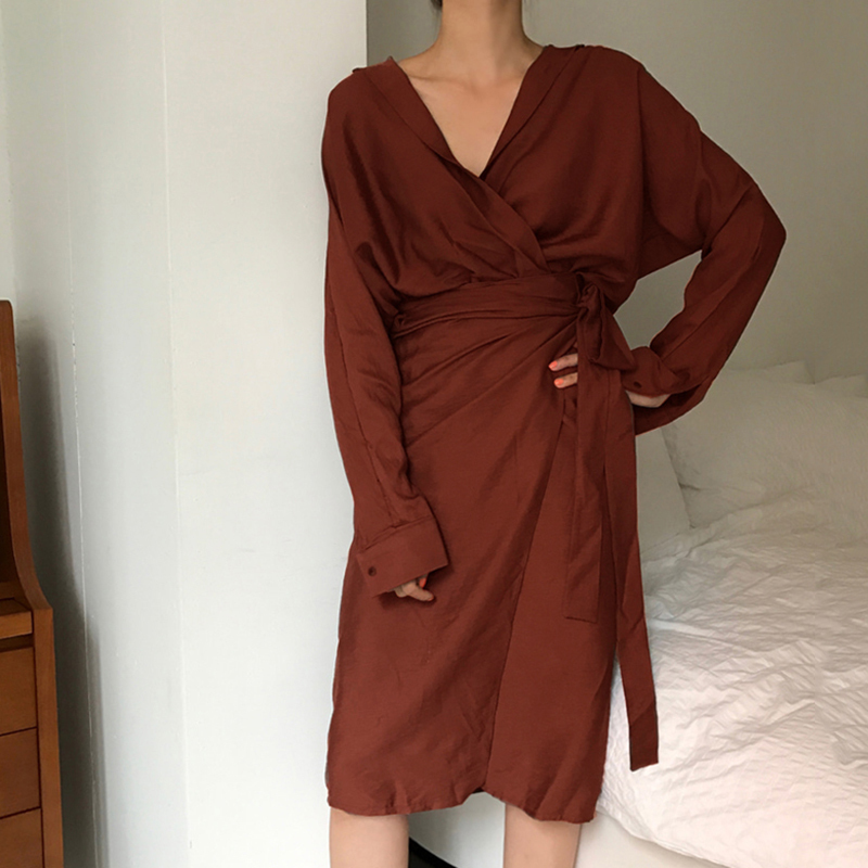 CHICEVER Bow Bandage Dresses For Women V Neck Long Sleeve High Waist Women's Dress Female Elegant Fashion Clothing New 19 18