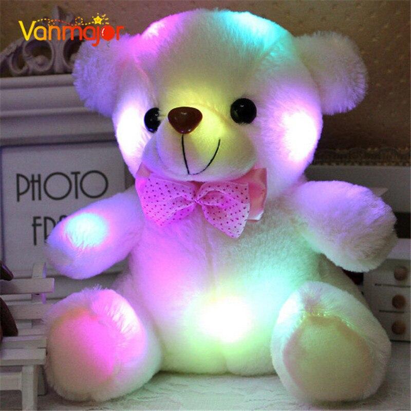 Ny ankomst 20cm Färgglada Glödande Nalle Björn Ljus Plush Leksaker LED Björn Fyllda Teddy Bear Lovely Gifts For Kids