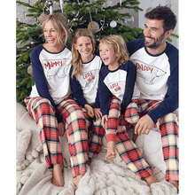Купить с кэшбэком Family matching pajamas Mother Father Kids Baby Plaid Print pajamas family Cartoon Bear Outfits Family Matching Clothes Outfits