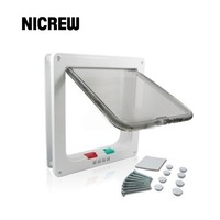 Nicrew 3 Size White Brown 4 Way Magnetic Lockable Pet Cat Dog Puppy Safe Flap Door