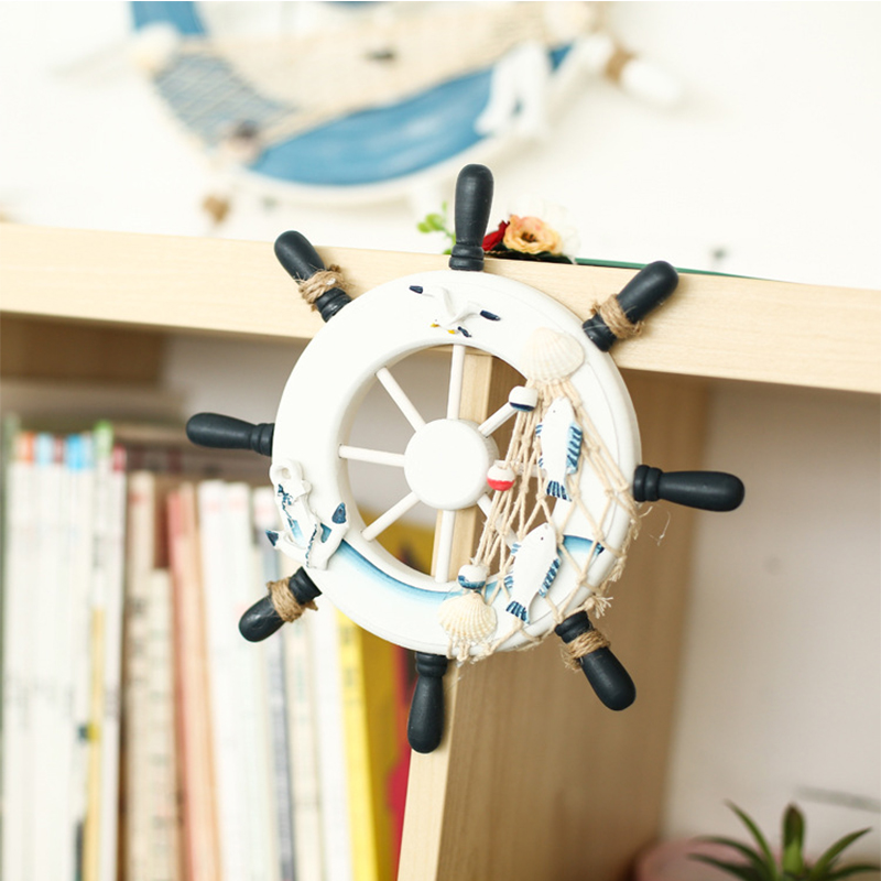 Vintage Retro Beach Boat Ship Wood Rudder Fishing Net Handmade Helm Wall Decorations Wheel Wood Craft Home Decor For Kids Room