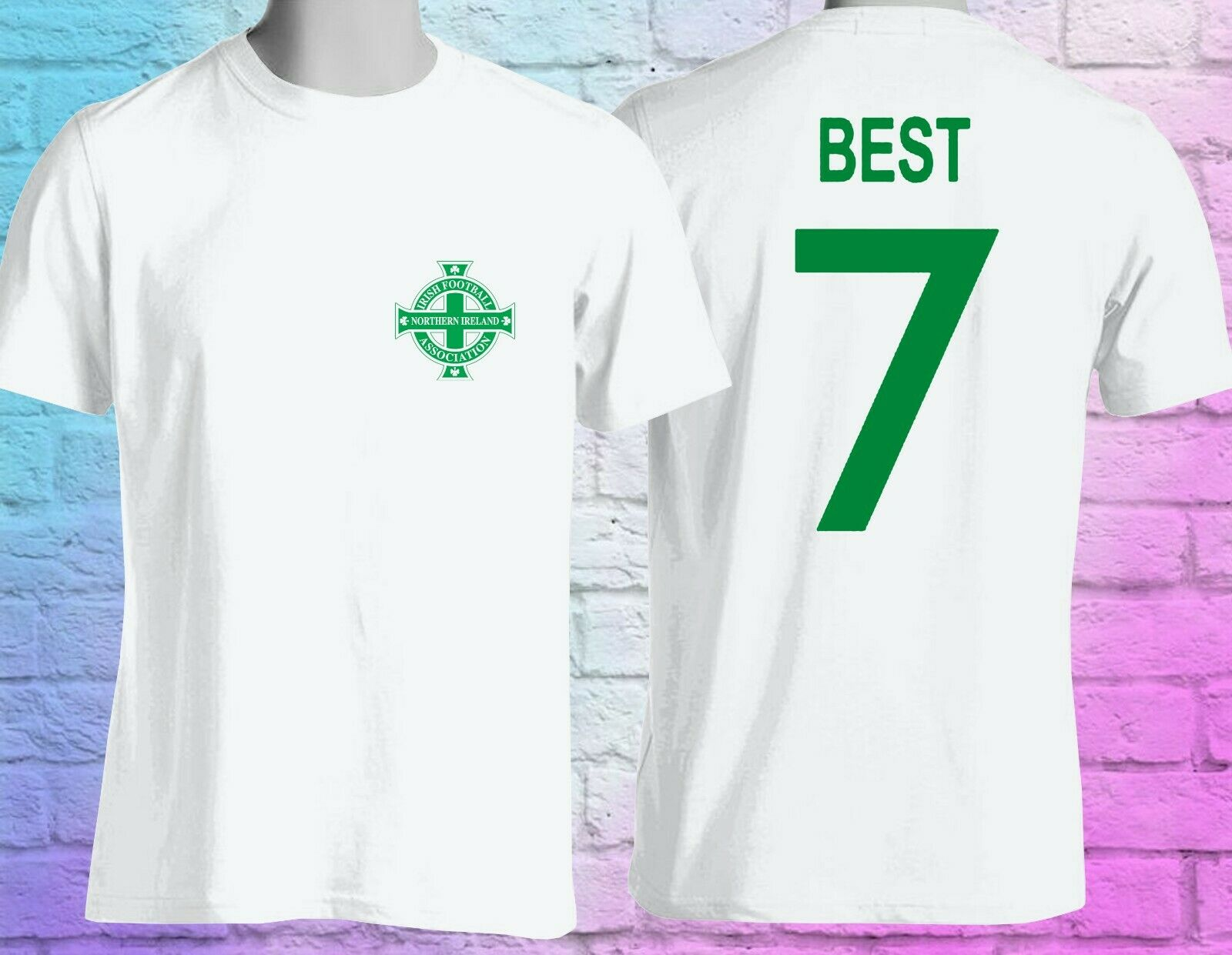 George Best Northern Ireland No 7 Mens Retro Football T-Shirt Double Side image