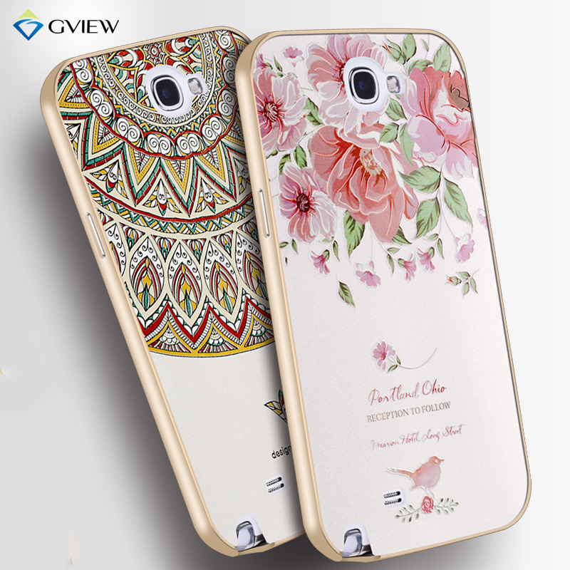 Aluminum Metal Frame/Border With 3D Relief PC Back Cover Case For Samsung Galaxy note 2 II N7100 Luxury Style CellPhone Bag Case