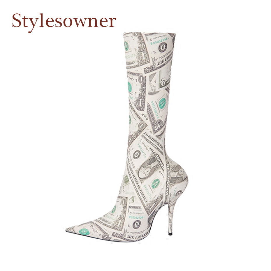 Stylesowner fashion new print stretch fabric women boots sexy pointed toe stiletto heel slip on shoes pumps dollers runway boots slip on winter boots stretch lycra