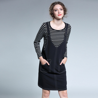 2 pieces dress set women plus size 2017 woman striped long sleeve top tees and dress vintage casual partytwo pieces dress sets