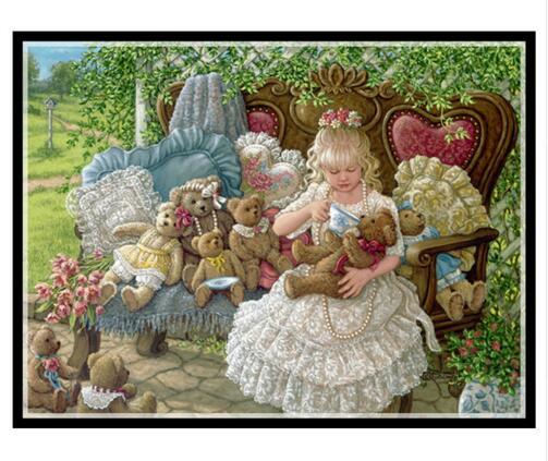 針仕事、diy dmcカウント印刷されていクロスステッチ刺繍キットについて設定し、女の子クマカウントクロスステッチ、壁家の装飾芸術  グループ上の ホーム&ガーデン からの パッケージ の中 1