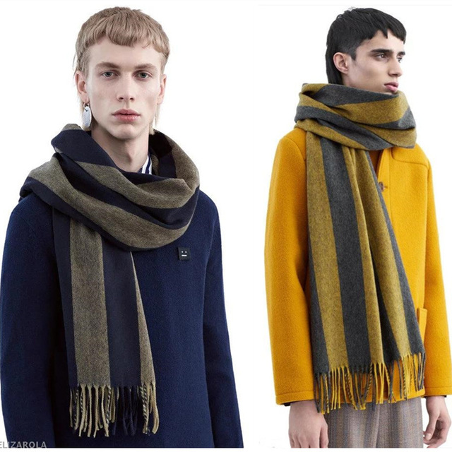 a20d0d86d0a Luxury Brand name Cashmere Hit Color Striped Oversized Scarf Autumn and  Winter Long Fringed Shawl Male Couple Lovers Paragraph-in Scarves from  Men's ...