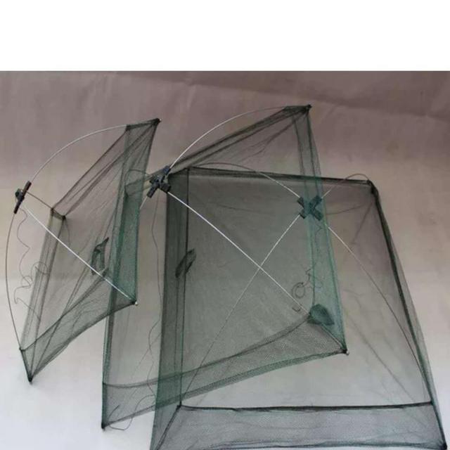Nowa ulepszona wersja 4 boczne 60 100 cm, ryby, krewetki, kraby, nylon przynęty połowów netto składane łatwe do carry połowów netto