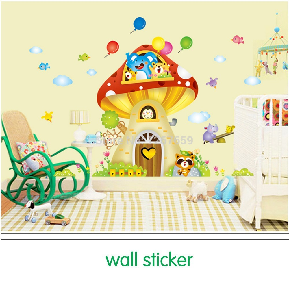 Big mushroom house cartoon Wall Sticker for child room, DIY ...