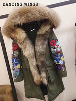 Real Large Raccoon Fur Collar Hooded Coat Long Down Jacket Personality Labeling Slim Women Winter Army Green Coat