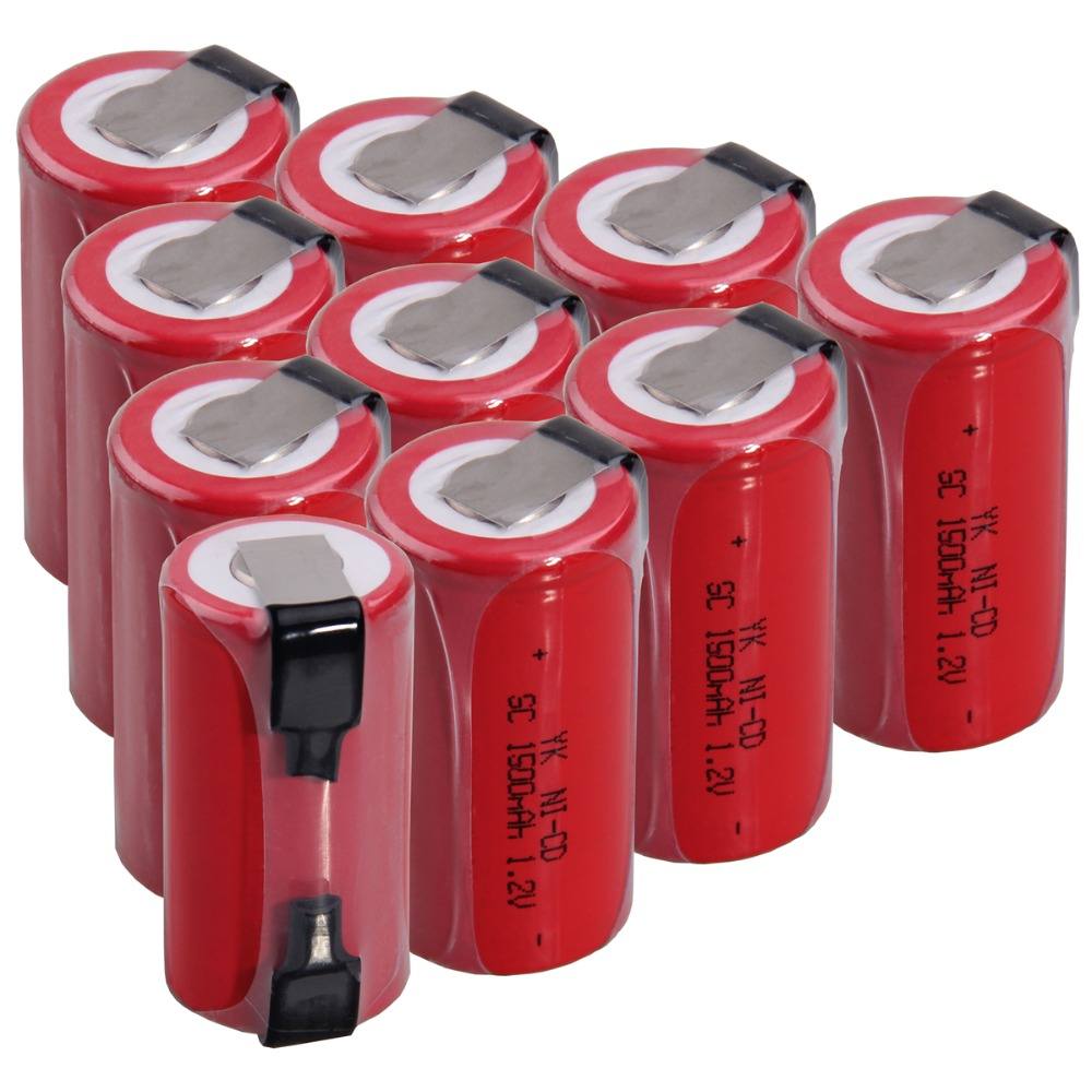 10 Pcs SC 1500mah 1.2v Battery NICD Rechargeable Batteries For Electric Screwdriver Electric Drill 4.25cm*2.2cm For Power Tools