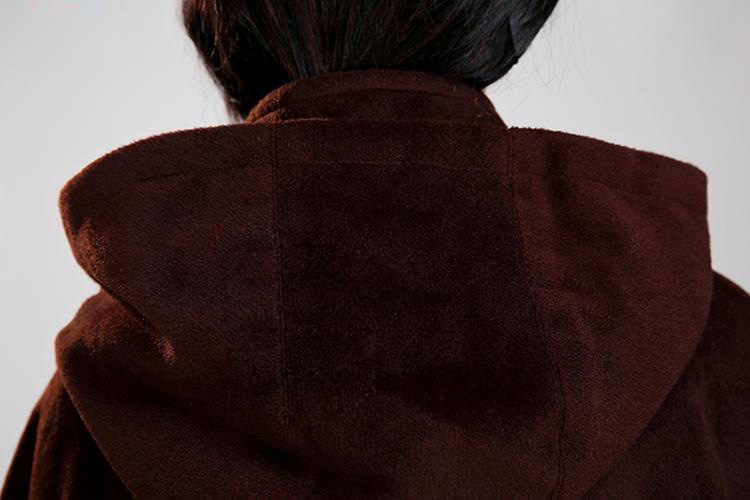 UNISEX abrigo de Meditación Budista monje trajes de lana manto de invierno artes marciales capa marrón de alta calidad