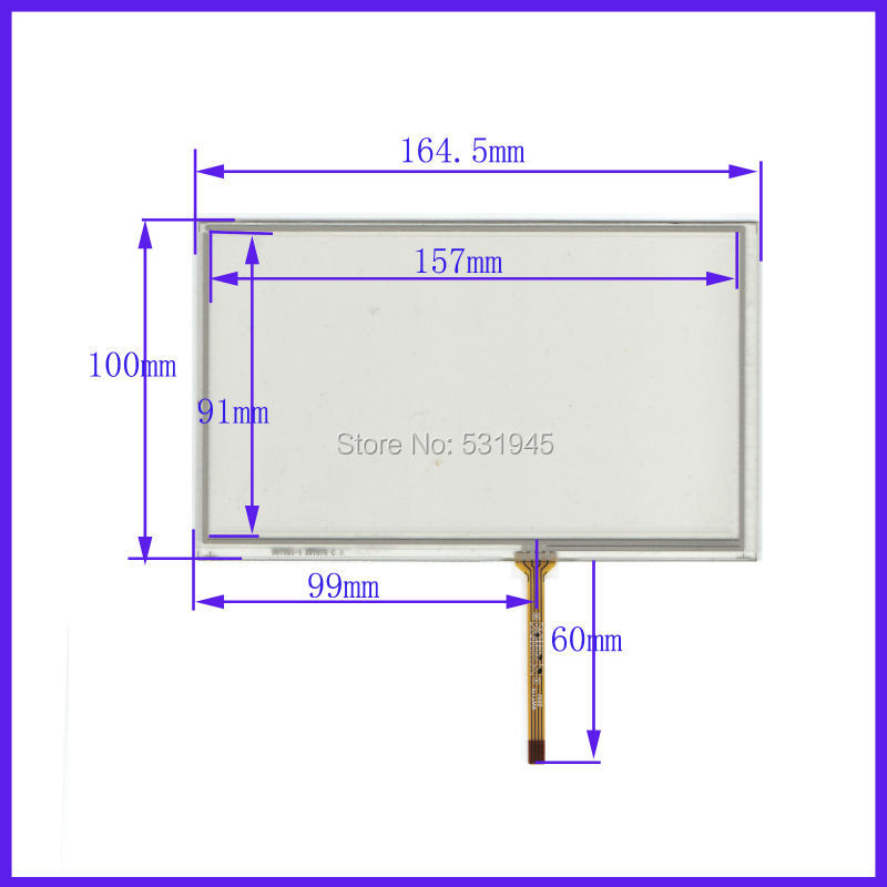 7 inch 164.5mm*100mm 4 wire TOUCH SCREEN for gps glass TP-1602 touch panel 164.5*100 for AT070TN90 TN91