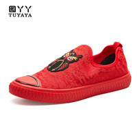 Breathable Cartoon Owl Men's Shoes Summer Flats New 2019 Slip on Casual Shoes Men Canvas Espadrilles Light Loafers Male