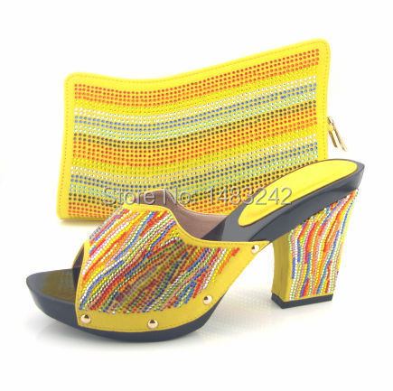 ФОТО Item No.MD015-362 yellow Fashion nice matching shoes and bag set  high heel for retail/wholesale free shipping shoes and bag set