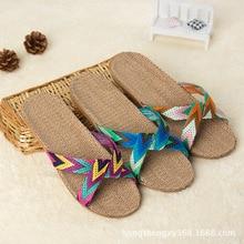 Jednoduché dámské pantofle na doma s křížovým barevným páskem